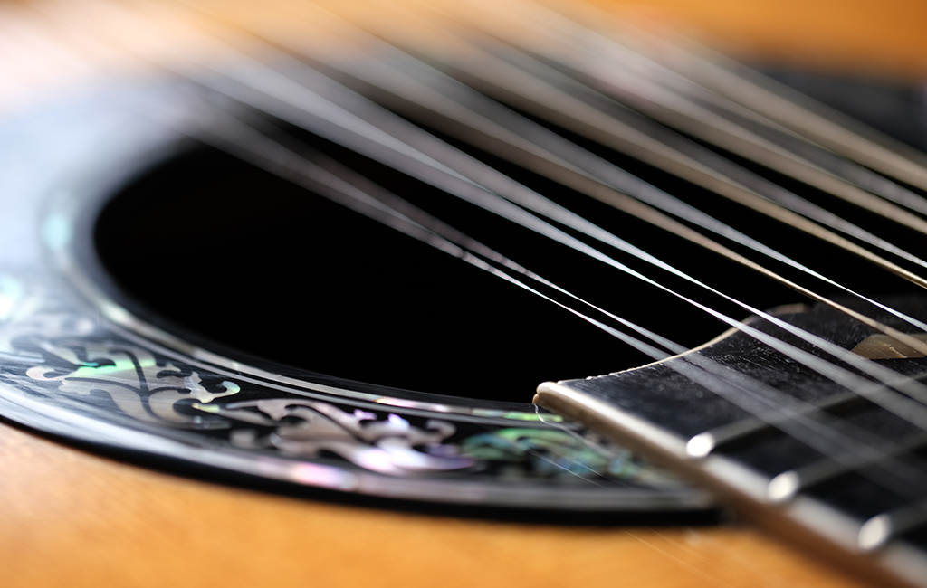 As you can see from this photo, the XF80mmF2.8 Macro lens has a very narrow depth of field when using it to shoot macro photos, but it served me well in this image of my 12-string guitar. It gave the guitar strings sharp focus in the middle of the composition but gradually blurred them toward the top and bottom of the photo. For me, the bokeh adds a sense of paradoxical visual poetry, since the strings almost appear to be vibrating in the image.