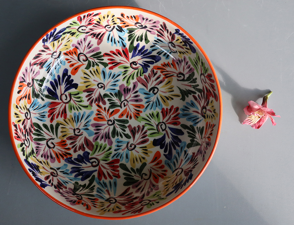Here's a non-macro image of the Mexican bowl and flower used in several of my still lifes on this shoot.