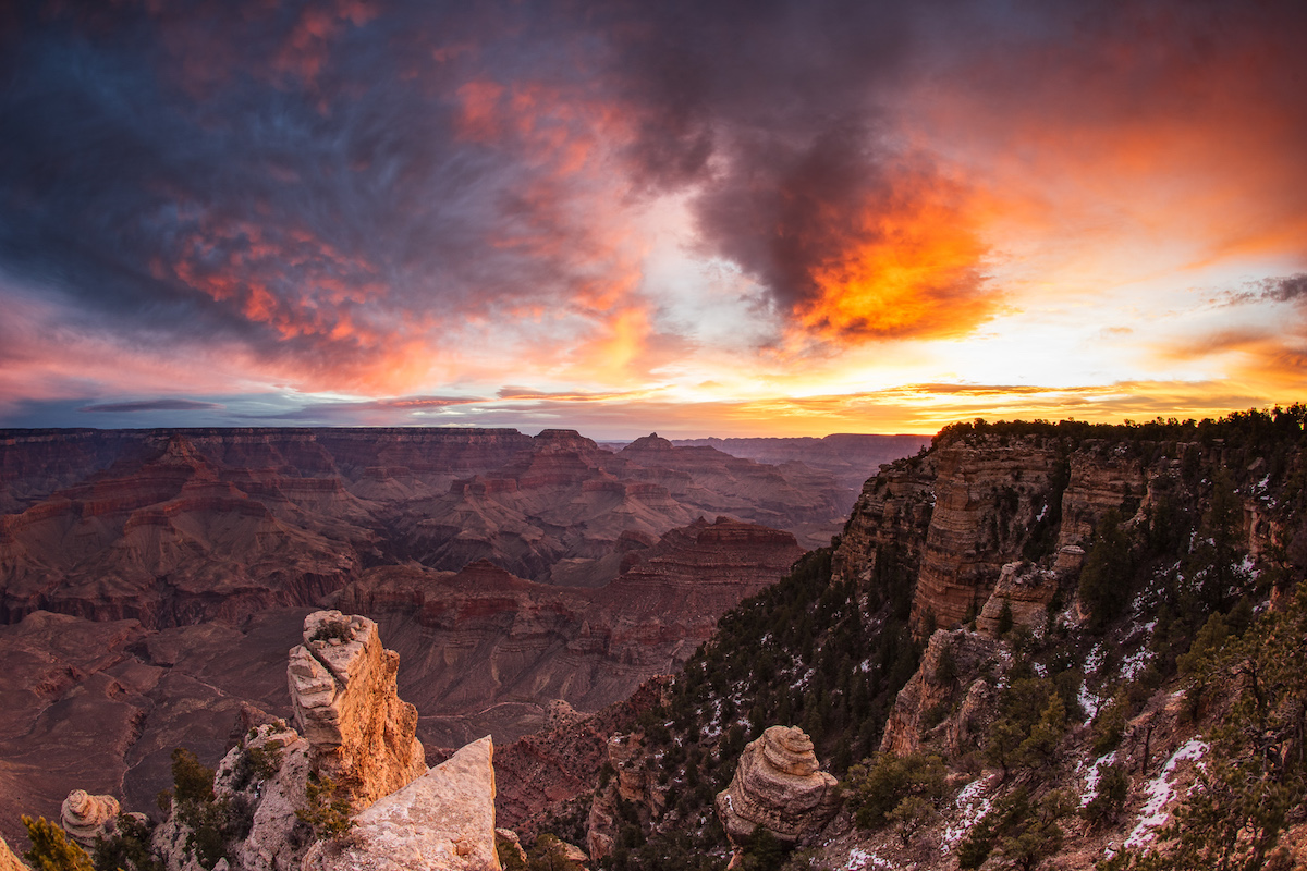 A sunrise over the Grand Canyon is just about the best damn way I can think of starting a day of shooting.