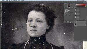 restoring old photos, example image of a damaged vintage print