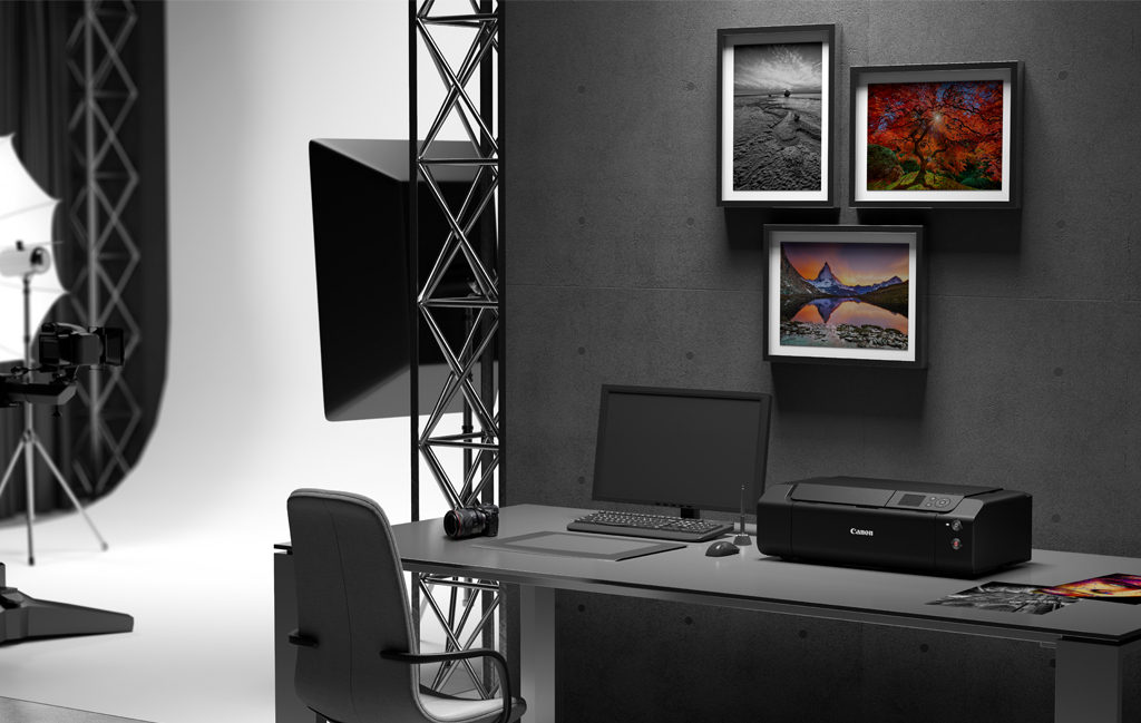 Image of a studio setup with a Canon imagePROGRAF printer
