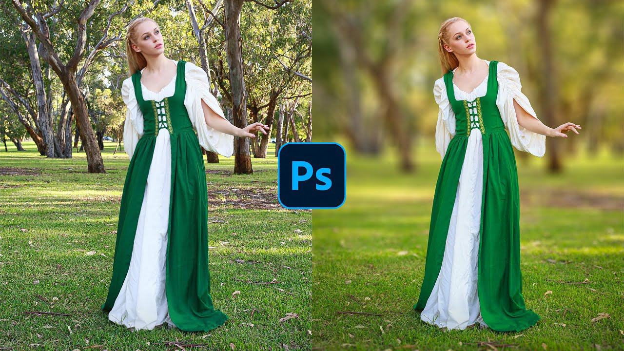 Thumbnail fo Photoshop how-to video on blurring background