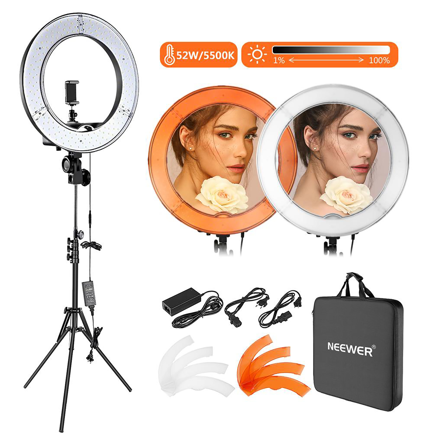 Product shot of Neewer ring light
