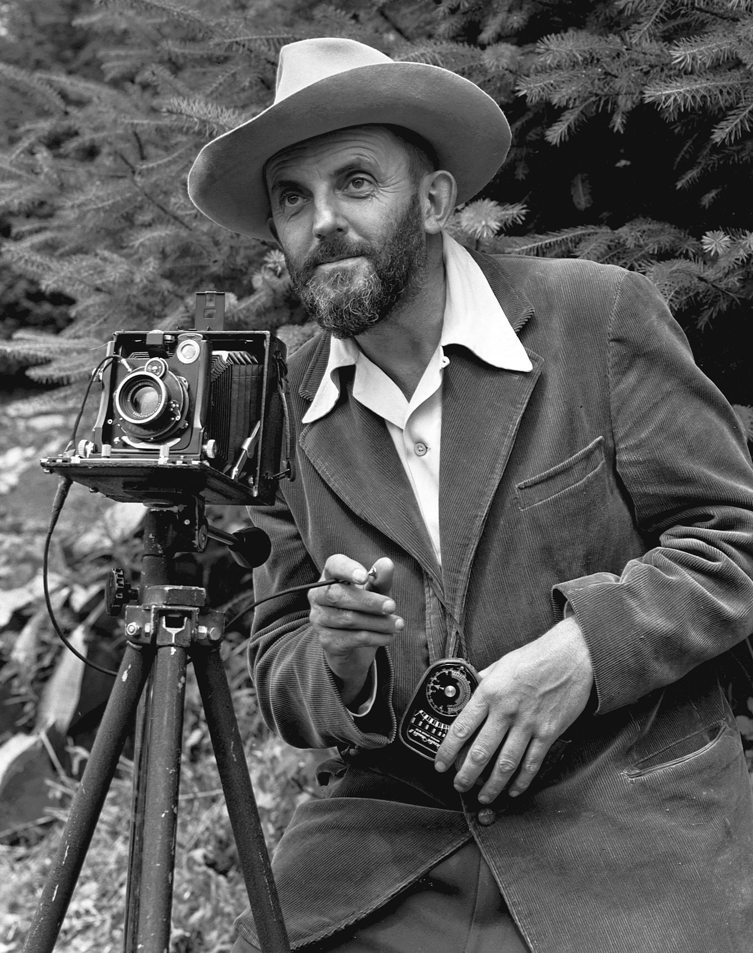 Photo of Ansel Adams with camera