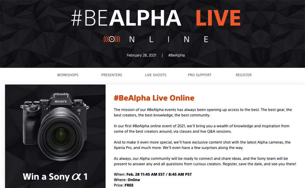 Sony Is Holding a Free Online Event with Photography Workshops, Live Shoots & Q&As with Pro Shooters