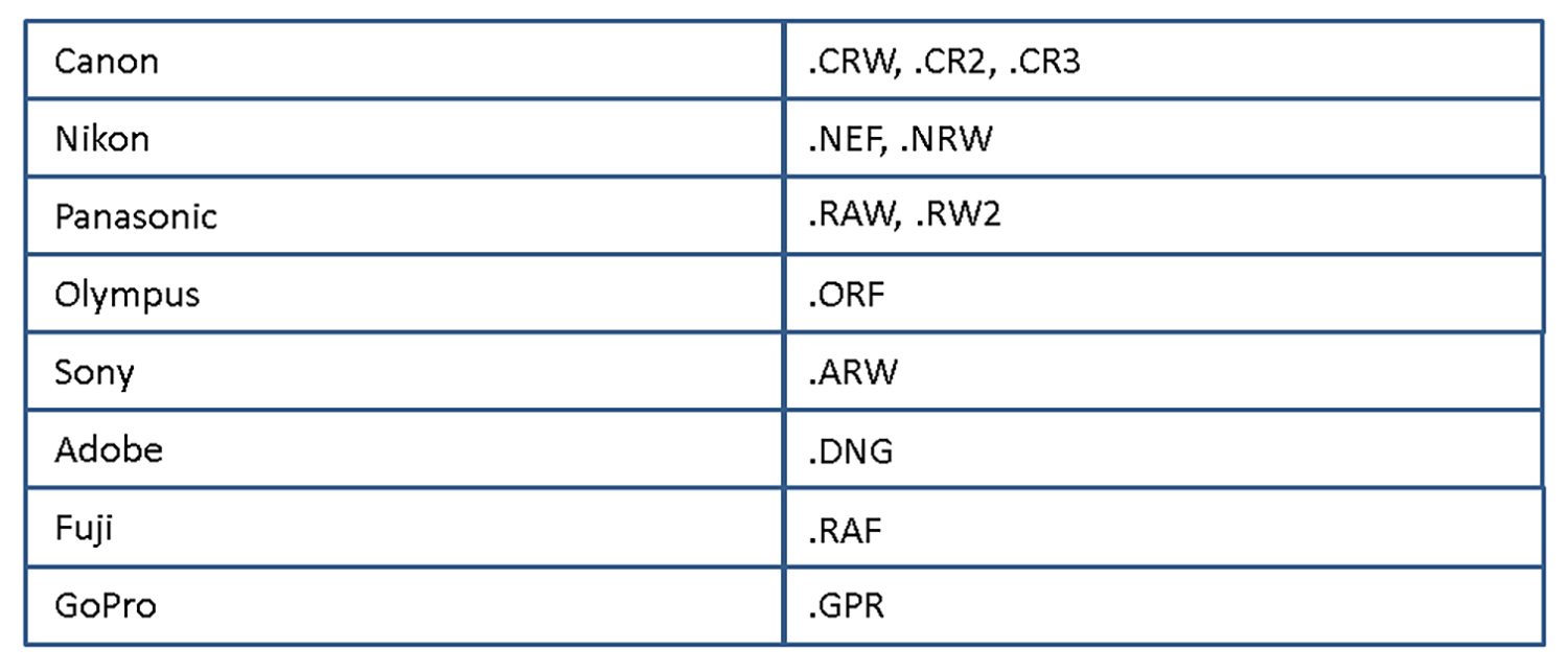 Photo of Raw file formats table