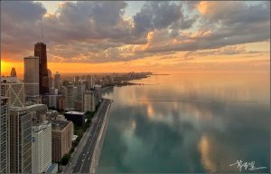 A Calm Sunset at Chicago's Lakefront