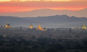 Bagan, Myanmar Sunset with Towers