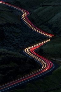 The trajectory of the car lights