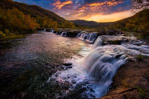Sandstone Falls with a friendly landscape