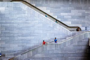 The people in the stairs
