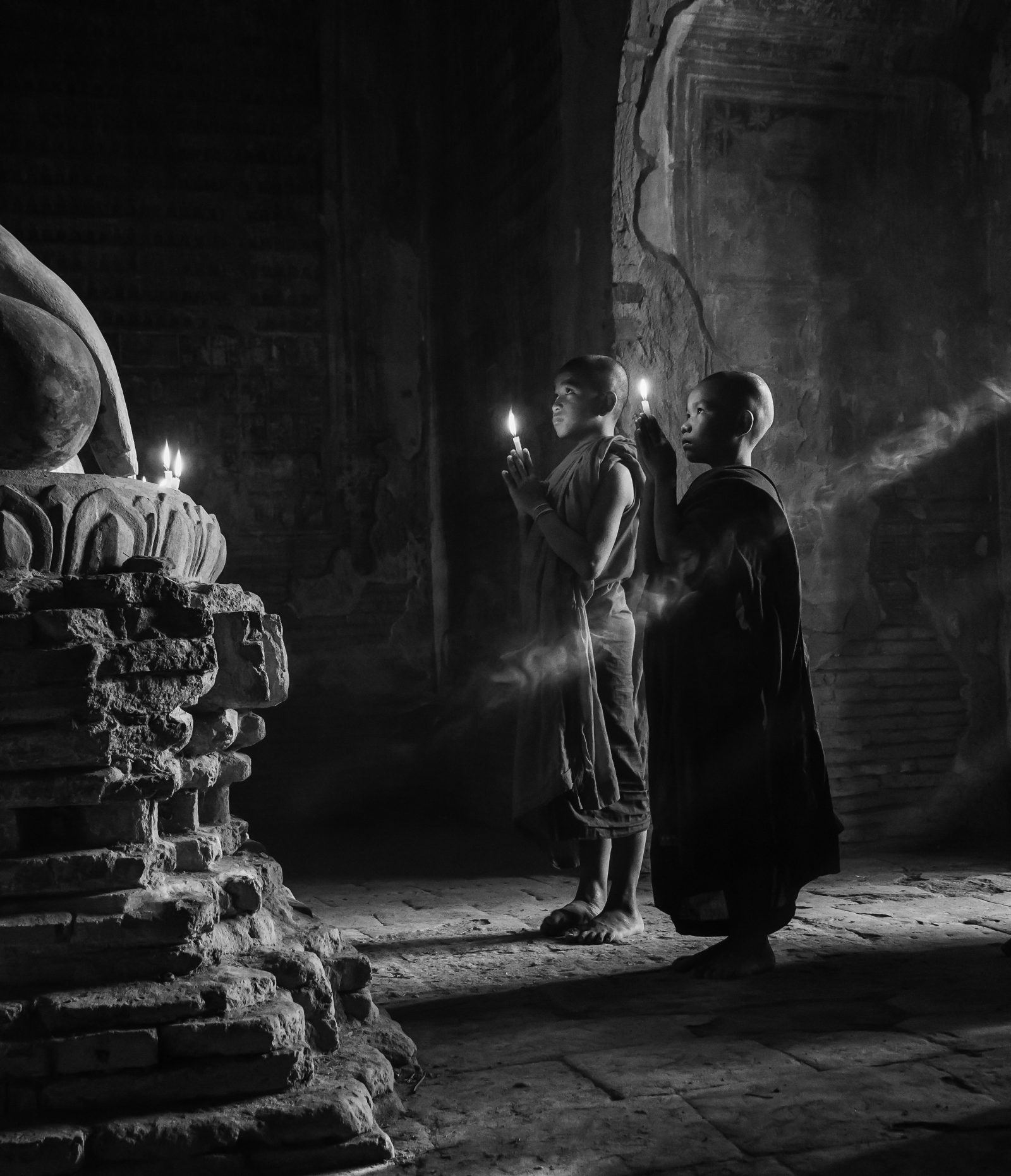 Young monks in pagoda in Bagan, Myanmar
