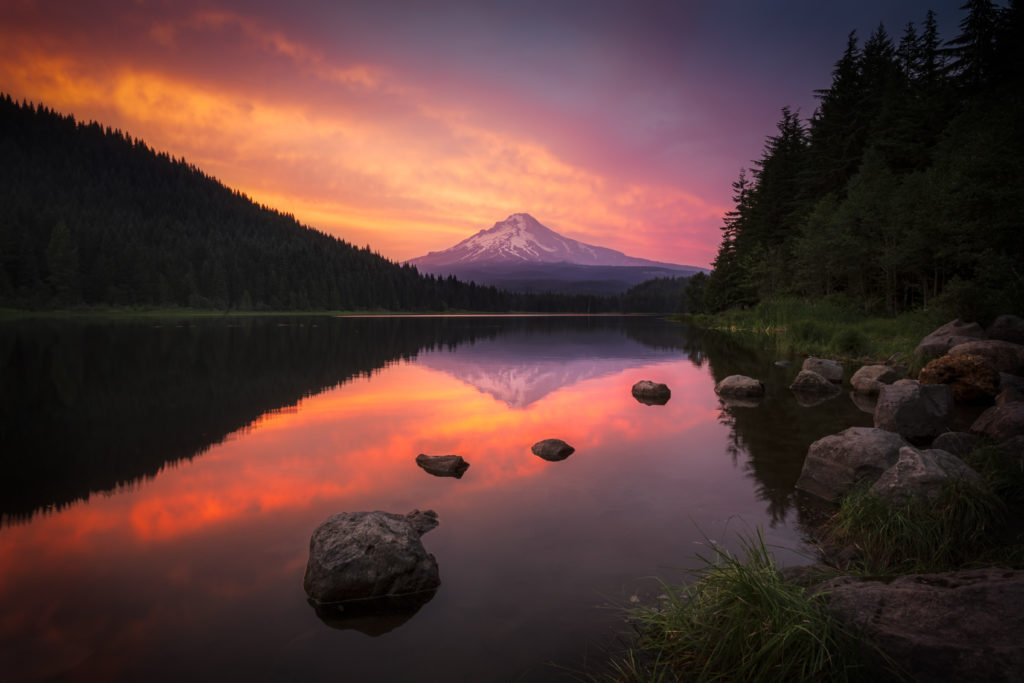 Smoky Evening at Trillium Lake